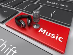 3d Word music with headphones and mic on computer keyboard. Stock Illustration