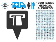 ATM Pointer Icon with 1000 Medical Business Symbols Stock Illustration