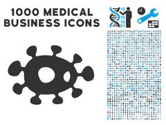 Bacteria Icon with 1000 Medical Business Pictograms Stock Illustration