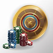 Chips and roulette for poker and casino game design Stock Illustration