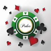 Cards symbols of Poker and chip design Stock Illustration