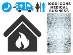 Building Fire Icon with 1000 Medical Business Pictograms Stock Illustration