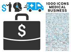 Business Case Icon with 1000 Medical Business Pictograms Stock Illustration