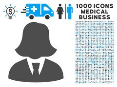 Business Lady Icon with 1000 Medical Business Pictograms Stock Illustration