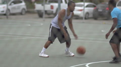 A young man basketball player missing a dunk while playing one on one. Stock Footage
