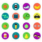 Sports and nutrition icons set Stock Illustration