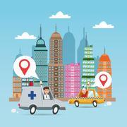 Gps navigator and location design Stock Illustration