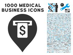 Cash Machine Pointer Icon with 1000 Medical Business Pictograms Stock Illustration