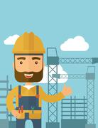 Man standing infront of construction crane tower Stock Illustration