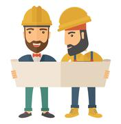 Two architects wearing protection helmets looking at blueprint Stock Illustration