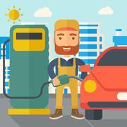 Gasoline boy filling up fuel Stock Illustration