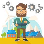 Mid adult male engineer holding blueprint Stock Illustration