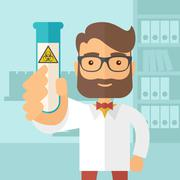 Scientists experimenting with glass tube Stock Illustration