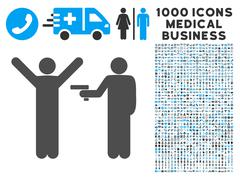 Crime Robbery Icon with 1000 Medical Business Pictograms Stock Illustration