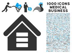Data Center Building Icon with 1000 Medical Business Pictograms Piirros