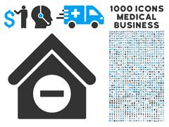Deduct Building Icon with 1000 Medical Business Symbols Stock Illustration
