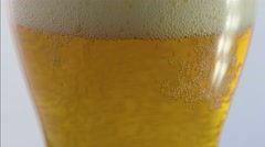 Macro tilt up on beer with head Stock Footage