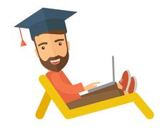 Man with laptop on the beach Stock Illustration