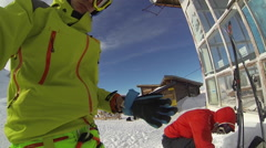 POV selfie of young men skiers. Stock Footage