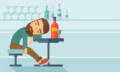 Drunk man fall asleep in the pub Stock Illustration