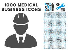 Engineer Icon with 1000 Medical Business Pictograms Stock Illustration