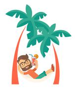 Young man on th beach relaxing and drinking cocktail Stock Illustration