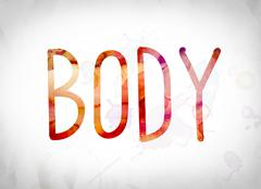 Body Concept Watercolor Word Art Stock Illustration