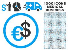 Euro and Dollar Currency Icon with 1000 Medical Business Symbols Stock Illustration