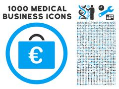 Euro Bookkeeping Case Icon with 1000 Medical Business Pictograms Stock Illustration