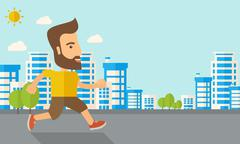 Man do jogging under the heat of sun Stock Illustration