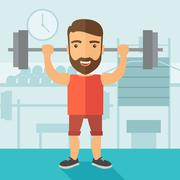 Handsome man lifting a barbell Stock Illustration