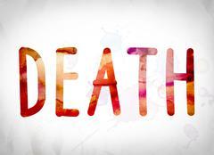 Death Concept Watercolor Word Art Stock Illustration