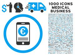 Euro Mobile Banking Icon with 1000 Medical Business Pictograms Stock Illustration