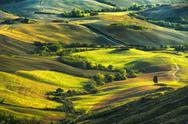 Tuscany, rolling hills on misty sunset. Rural landscape. Green fields and far Stock Photos