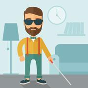 Blind man with walking stick Stock Illustration