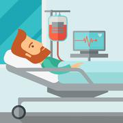Patient in hospital bed being monitored Stock Illustration