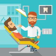 Dentist man examines a patient teeth in the clinic Stock Illustration