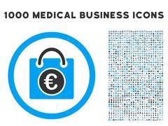 Euro Shopping Bag Icon with 1000 Medical Business Symbols Stock Illustration