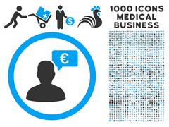 European Person Opinion Icon with 1000 Medical Business Pictograms Stock Illustration
