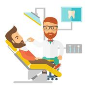 Dentist man examines a patient teeth in the clinic Piirros