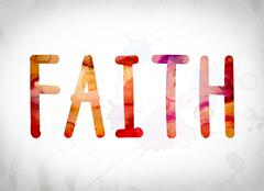 Faith Concept Watercolor Word Art Stock Illustration