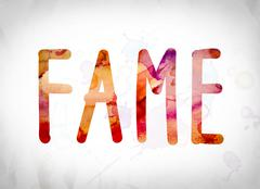 Fame Concept Watercolor Word Art Stock Illustration