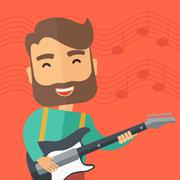 Musician is playing electrical guitar Stock Illustration
