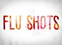 Flu Shots Concept Watercolor Word Art Piirros
