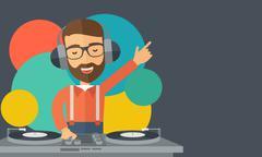 Disc jockey mixing music Stock Illustration