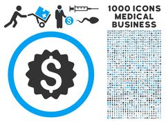 Financial Reward Seal Icon with 1000 Medical Business Pictograms Stock Illustration