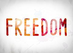 Freedom Concept Watercolor Word Art Stock Illustration