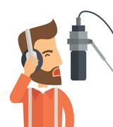 DJ with headphone and microphone Stock Illustration