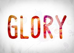 Glory Concept Watercolor Word Art Stock Illustration