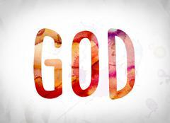 God Concept Watercolor Word Art Stock Illustration